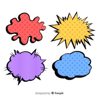 Kolorowe komiczne dymki o różnorodnym kształcie