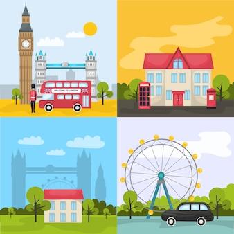 Kolorowe kompozycje londynu z czterema kwadratowymi ikonami przedstawiają miejsca i atrakcje turystyczne