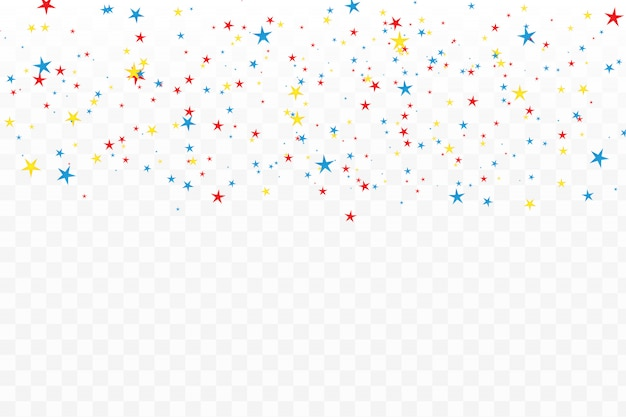 Kolorowe konfetti gwiazda na przezroczystym.