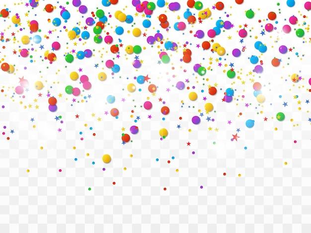 Kolorowe konfetti i kulki na białym tle uroczysty tło wektor happy birthday holiday