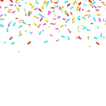 Kolorowe konfetti jasne na białym tle