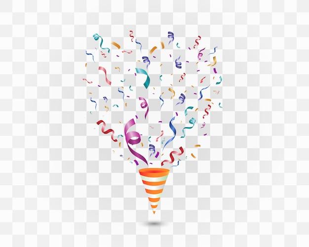 Kolorowe konfetti na białym tle. uroczysty wesoły tło. stożek z konfetti.