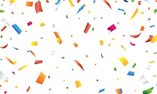 Kolorowe konfetti na białym tle