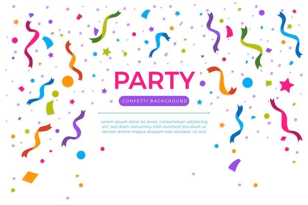 Kolorowe konfetti roczne urodziny tło