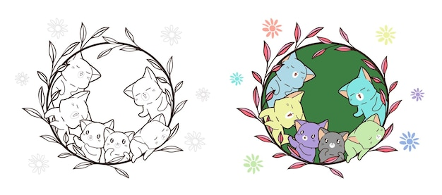 Kolorowe koty w kreskówce winorośli do kolorowania dla dzieci