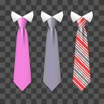 Kolorowe krawaty realistyczne szyi zestaw na przezroczystym tle