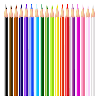 Kolorowe kredki - na białym tle