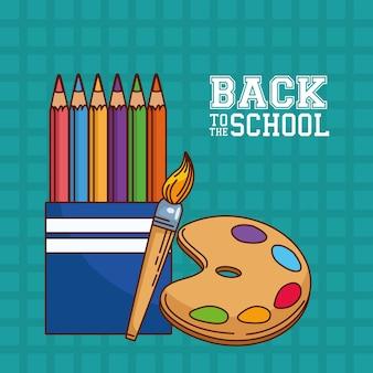 Kolorowe kredki, paleta farb i projekt pędzla, klasa szkolna i temat lekcji