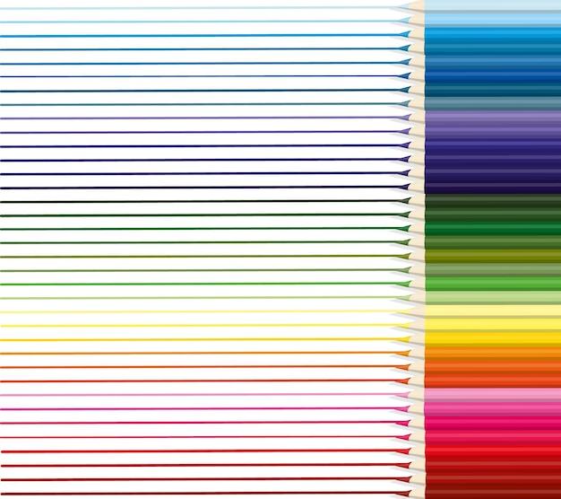 Kolorowe kredki są ułożone równomiernie w rzędzie z narysowanymi liniami każdego koloru