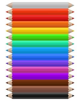 Kolorowe kredki. zestaw wielokolorowych przyborów ołówkowych, biurowych lub szkolnych ułożonych w linii według kolorów, jasne tęczowe kreatywne dziecinne narzędzie do malowania ilustracji wektorowych na białym tle