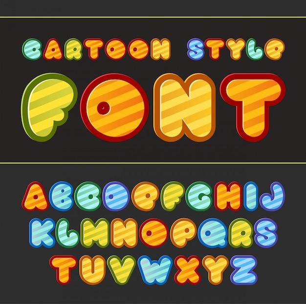 Kolorowe kreskówki czcionki ładny alfabet