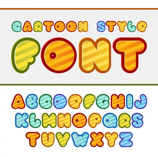 Kolorowe kreskówki czcionki śliczne alfabet dla dzieci