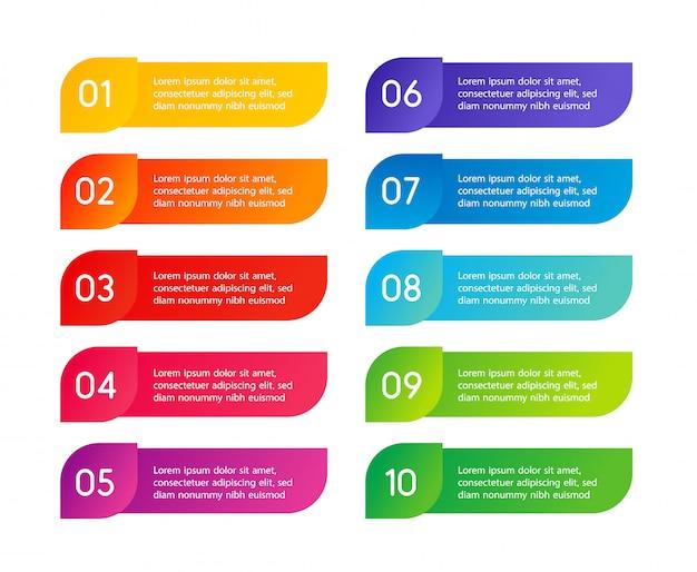Kolorowe kroki menu, interfejs aplikacji. opcje liczbowe. projektowanie stron internetowych elementów przycisków. ilustracja infografiki.