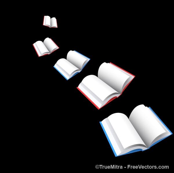 Kolorowe książki wektorów, tło czarne