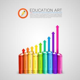 Kolorowe książki ze strzałkami do góry. ilustracja wektorowa