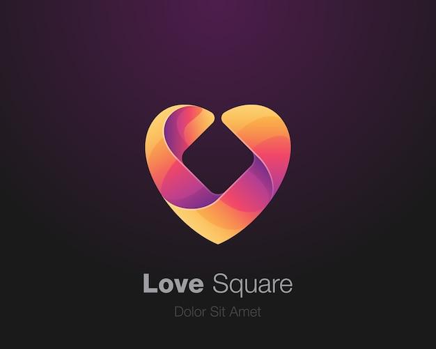 Kolorowe kwadratowe logo miłości