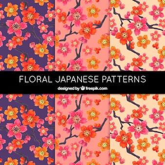 Kolorowe kwiatowe wzory japońskie
