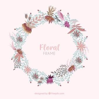 Kolorowe kwiatowy rama w stylu płaski