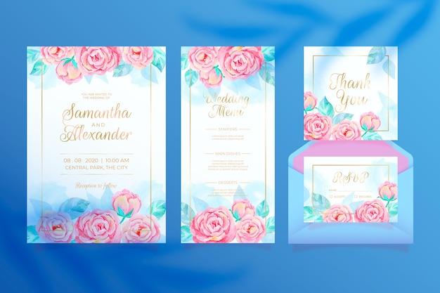 Kolorowe kwiatowy ślub papeterii