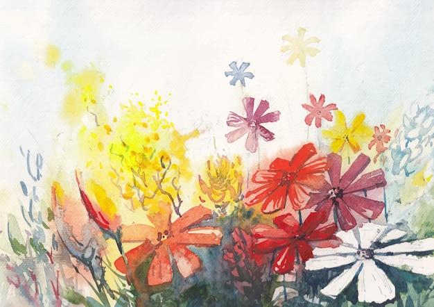 Kolorowe kwiaty akwarela malarstwo
