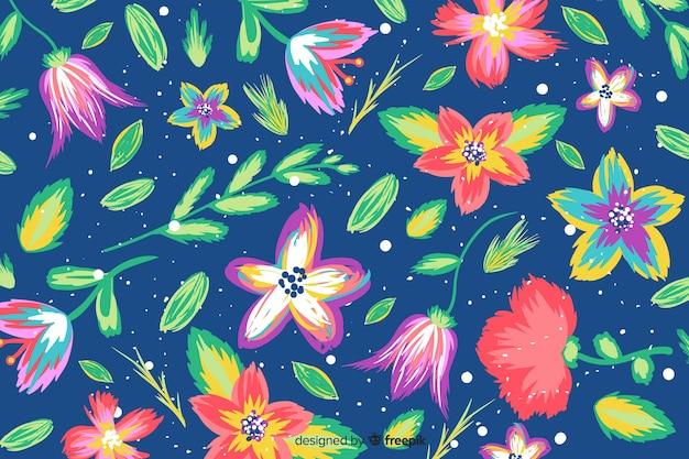 Kolorowe kwiaty malowane tła