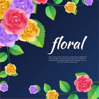 Kolorowe kwiaty róży szablon tło wektor