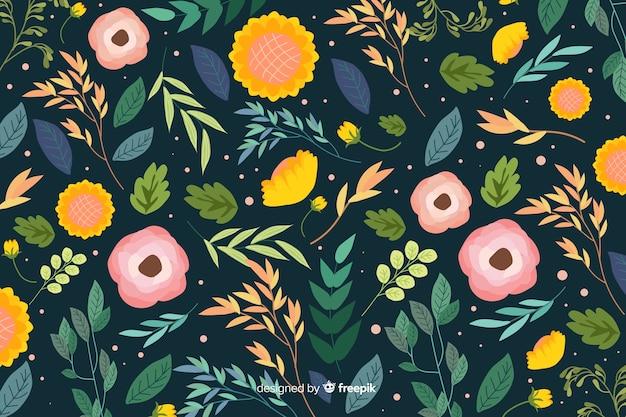 Kolorowe kwiaty tło płaska konstrukcja