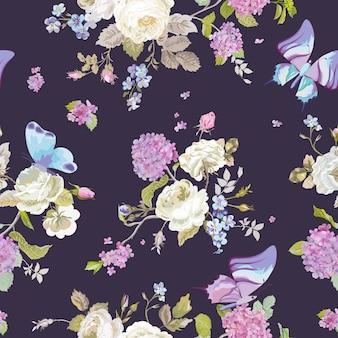 Kolorowe kwiaty tło z motylami. bezszwowy kwiatowy wzór shabby chic
