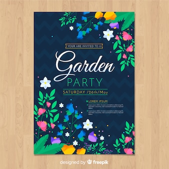 Kolorowe kwiaty wiosną party plakat szablon