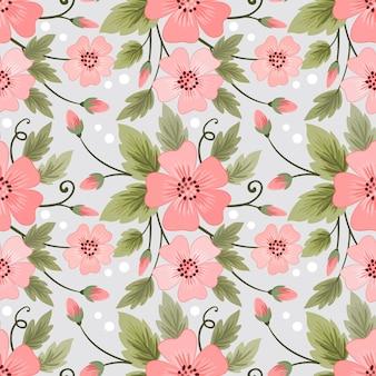 Kolorowe kwiaty wzór na tapetę z tkaniny.