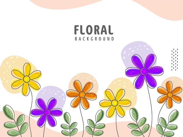 Kolorowe kwiaty z liśćmi zdobią tło.