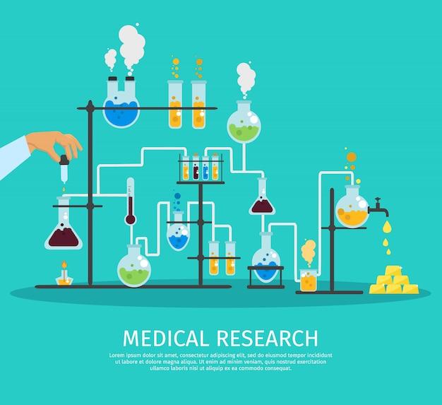 Kolorowe laboratorium chemii płaskie ilustracja