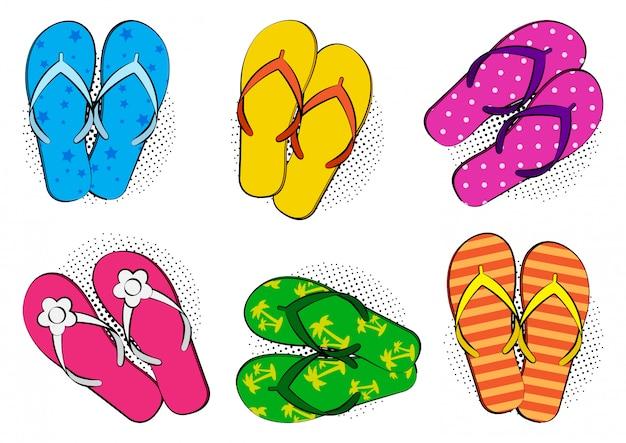 Kolorowe letnie klapki. ilustracja