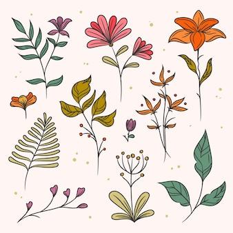 Kolorowe liście i kolekcja ręcznie rysowane kwiatowy wiosna