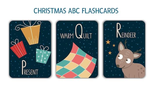 Kolorowe litery alfabetu p, q, r. karta foniczna. śliczne świąteczne kartki abc do nauki czytania z zabawnymi prezentami, ciepłą kołdrą, reniferem. świąteczna aktywność noworoczna.