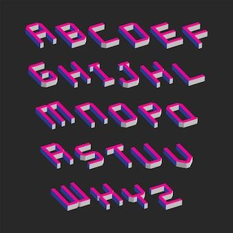 Kolorowe litery alfabetu z efektem izometrycznym 3d