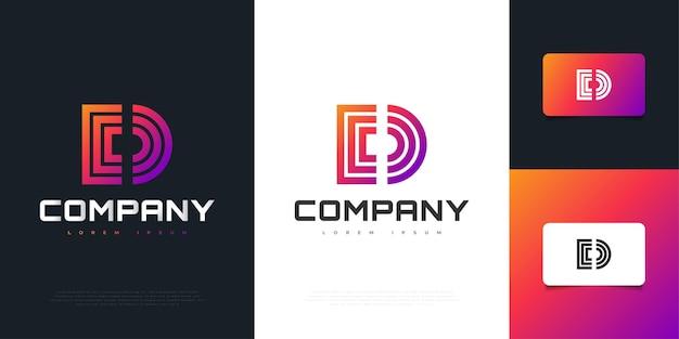 Kolorowe litery d logo design w koncepcji abstrakcyjnej i nowoczesnej. graficzny symbol alfabetu dla tożsamości biznesowej