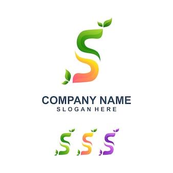 Kolorowe litery s z logo liści