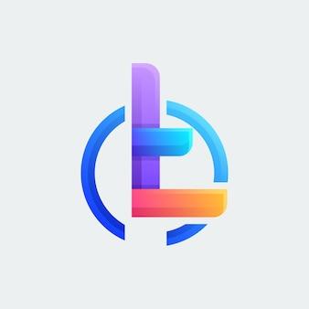 Kolorowe litery t logo design