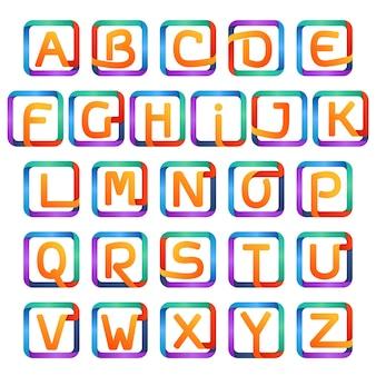 Kolorowe litery w jednym wierszu w zestawie kwadratów