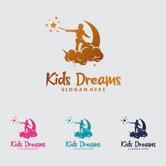 Kolorowe logo child reaching star