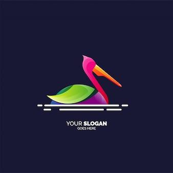 Kolorowe logo czapla szablon