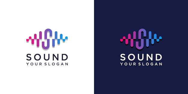 Kolorowe logo dźwięku muzyki z projektem litery