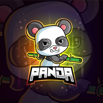 Kolorowe logo e-sportu panda maskotka