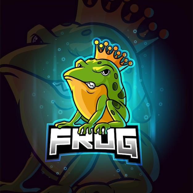 Kolorowe logo esport maskotka król żaba