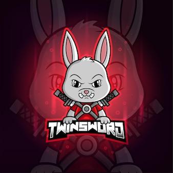 Kolorowe logo esport maskotki królika twinsword