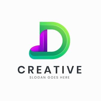 Kolorowe logo gradientu litery d d