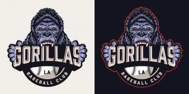 Kolorowe logo klubu baseballowego w stylu vintage