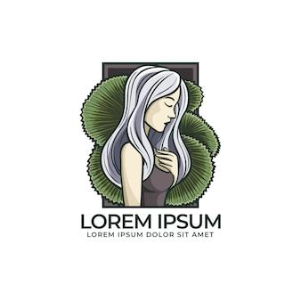 Kolorowe logo kobiety i liść palmowy