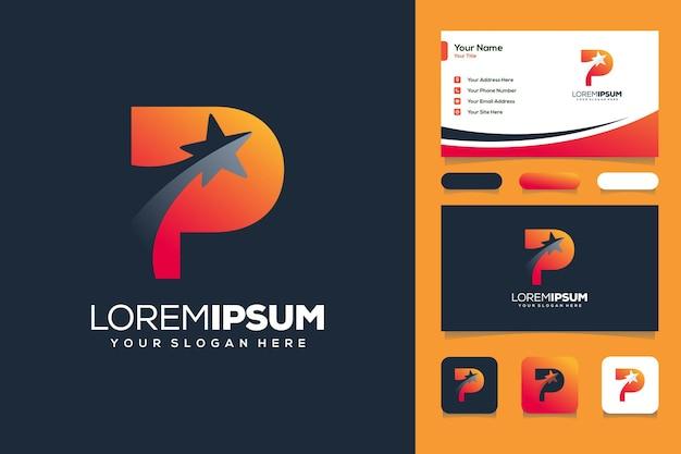 Kolorowe logo litery p gwiazda projekt